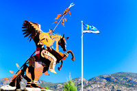 Osoyoos, BC., statue, native Indian, horse, Visitor Centre