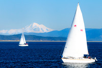 Sidney, sailing, two sailboats, Mt. Baker, recreation, lifestyle