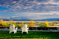 Whidbey Island, Useless Bay, Washington State, two white chairs,