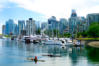 Scullers, rowers, Coal Harbour, Vancouver, BC.