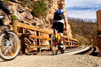 Cyclists, biking, Myra Canyon Trestles, Kettle Valley Railway, Kelowna