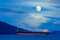 Freighter, full moon, Cowichan Bay, BC, Satellite Channel