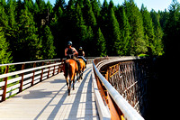 Kinsol Trestle, Shawnigan Lake, two women on horses