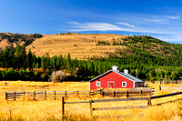 Winthrop, Washington State, farmland, red barn