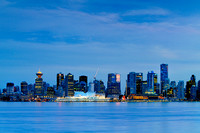 Vancouver, skyline, night, Burrard Inlet, Canada Place