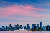 Canada Place, Vancouver, skyline, night, Burrard Inlet