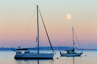 Mill Bay, sailboats, full moon rise, Mt. Baker