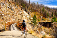 Cyclist, biking, Myra Canyon Trestles, Kettle Valley Railway, Kelowna